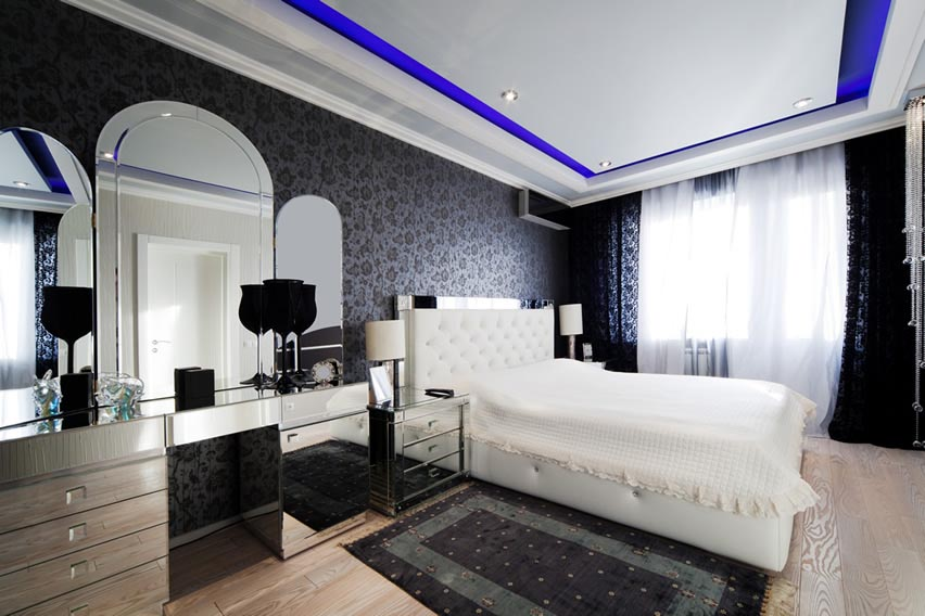 Modern Decor Bedroom Blue Color Tray Ceiling