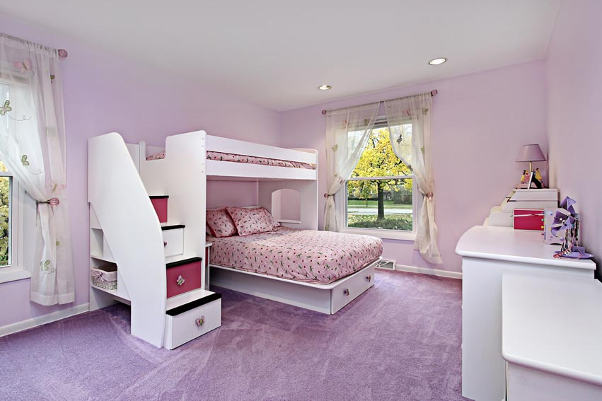 Large Purple Girls Bedroom Ideas For Small Rooms With Bunk Bed