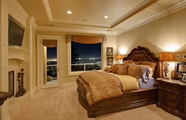 Romantic Bedroom Ideas For Couples With Tray Ceiling View Of City Lights