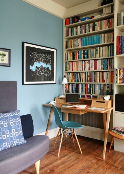 Eclectic Study Room Idea in London with Blue Walls