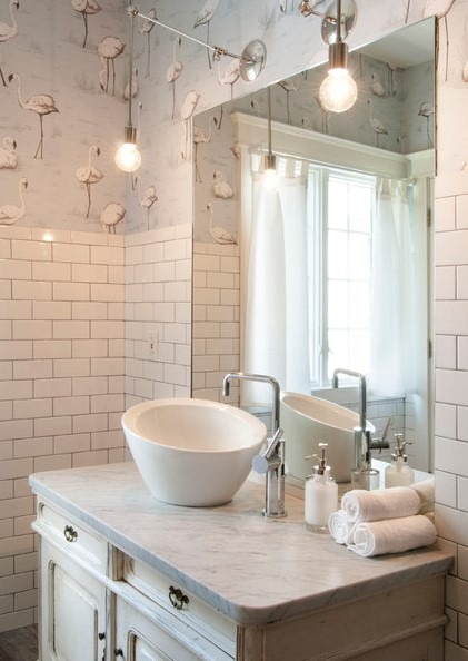 Eclectic Design Guest Bathroom with Standing Shower