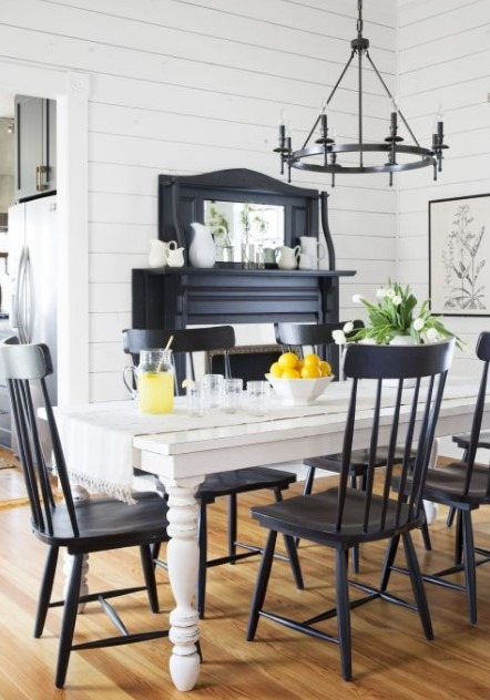 Dining Room Wall Decor Ideas With Black And White Concept