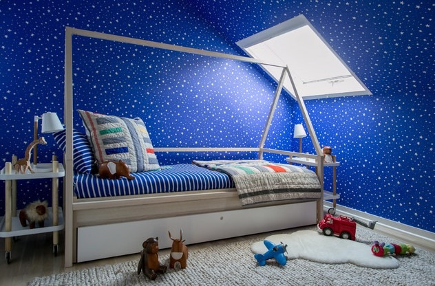 Eclectic Kids' Room Remodel for Boys in New York with Blue Walls