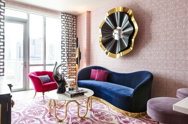 Magenta and Navy Pad Living Room with Eclectic Interior Design Ideas