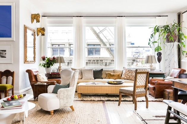 Eclectic Living Room New York withPattern-Rich Loft in Soho