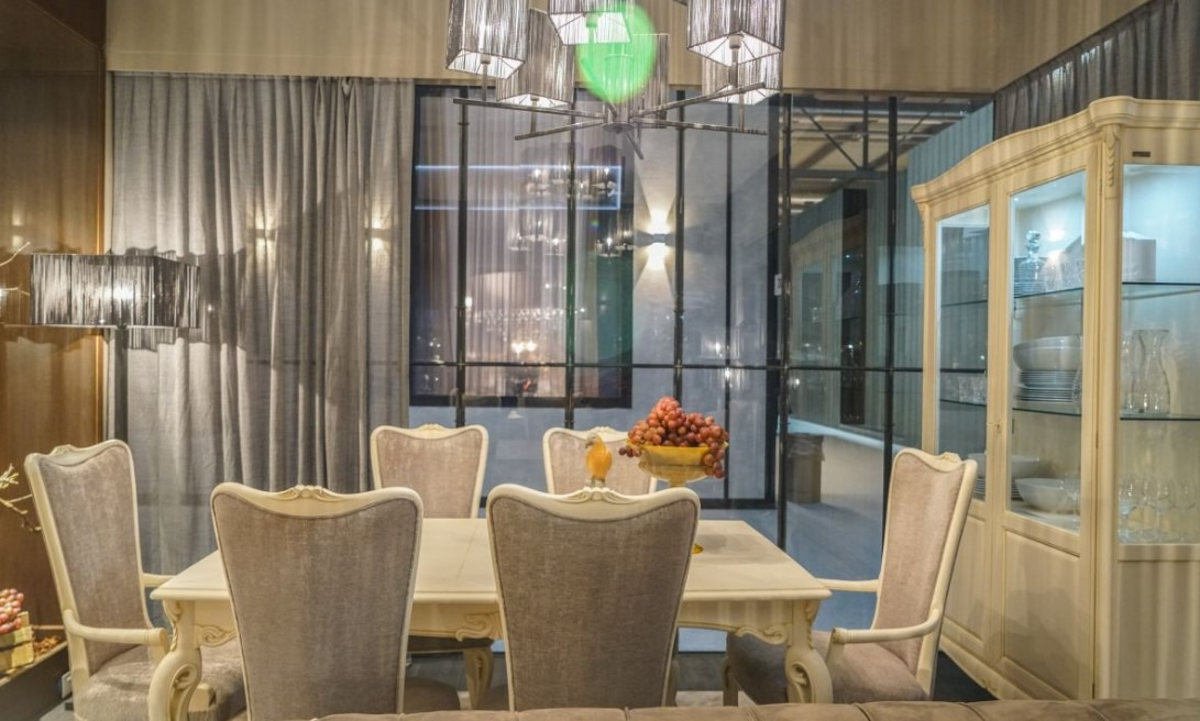 Light Grey Luxury Dining Room Design Modern Lighting Highlights A More Current Style Area