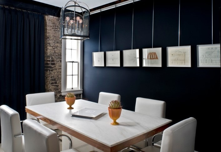Small Office Interior Design With Black Wall Paint Idea