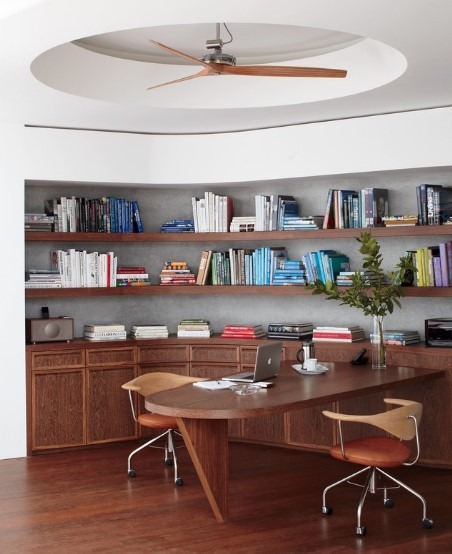 Small Office Interior Design With Book Rack And Wooden Floor Concept
