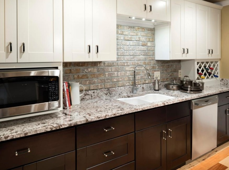 White Granite Kitchen Countertops Designs With Cabinets For Small Space  Ideas