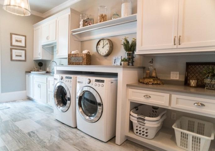 White Laundry Room Vanity Cabinet Design