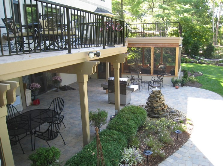 A patio + screened porch + deck combo