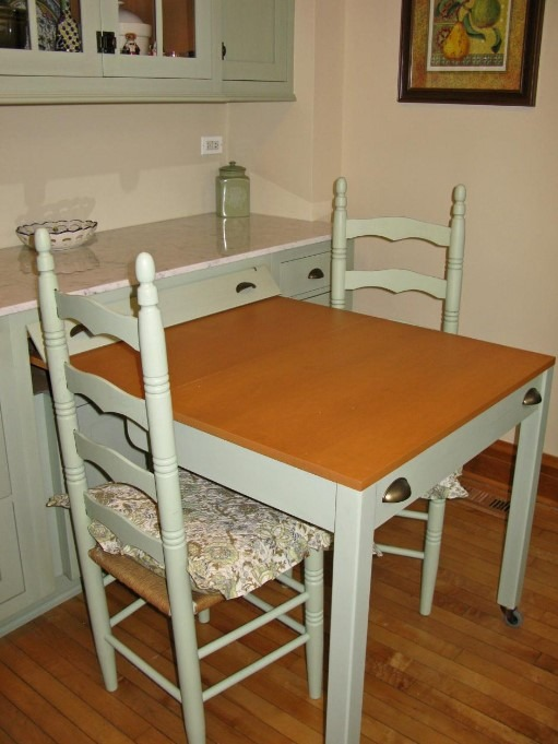 Kitchen Tables For Small Spaces - Build In a Slide-Out Table