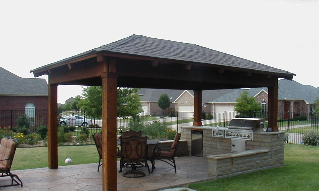 Freestanding Patio Cover With Traditional Accent