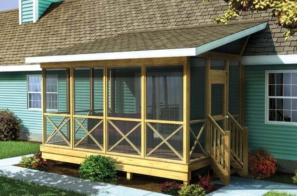 Screened Porch With A Shed Roof
