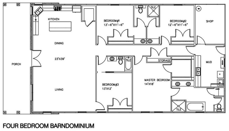 20 barndominium floor plans metal building floor plans for 1500 sq ft metal building