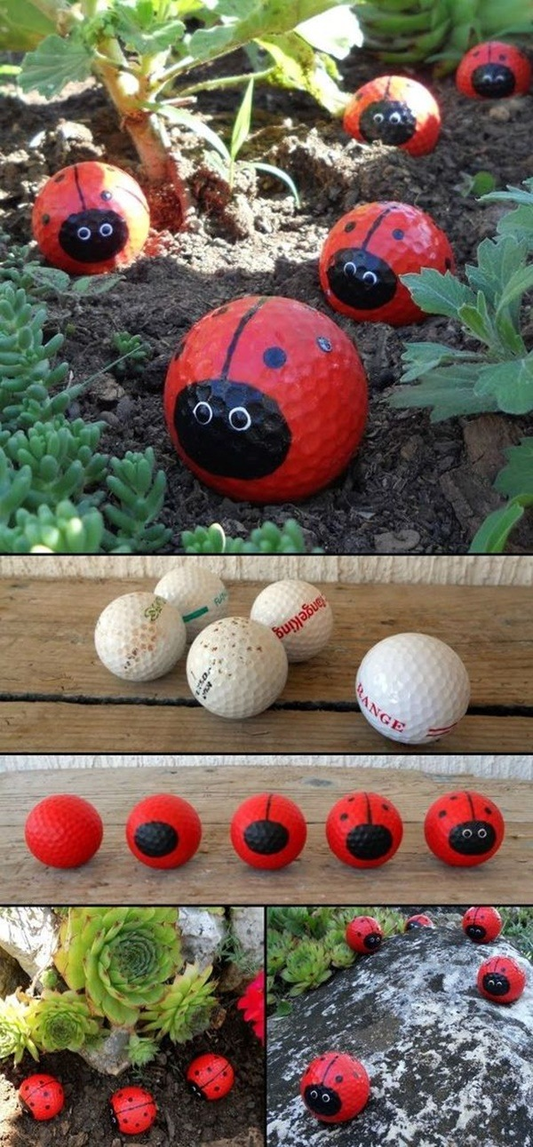 Painted Rock For Your Garden - Ball Baseball and Bugs