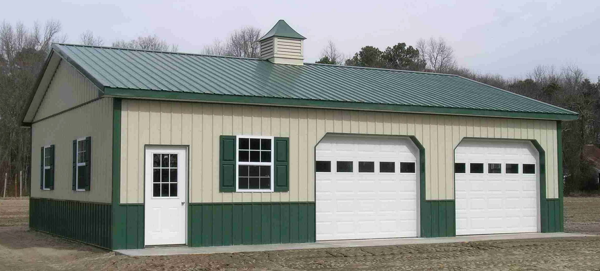Metal Building with Two Garage Doors