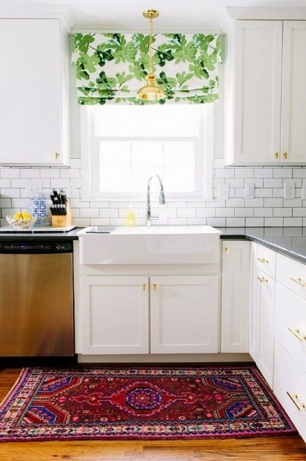 Renovating Kitchen Simply Using Vintage Rug and Curtain