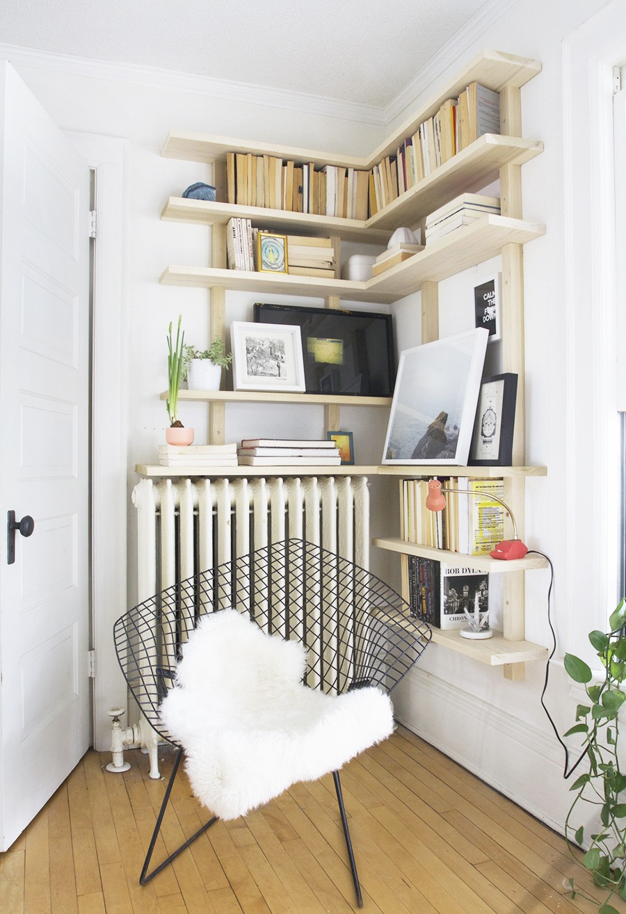 Scandinavian Look In Corner Shelves