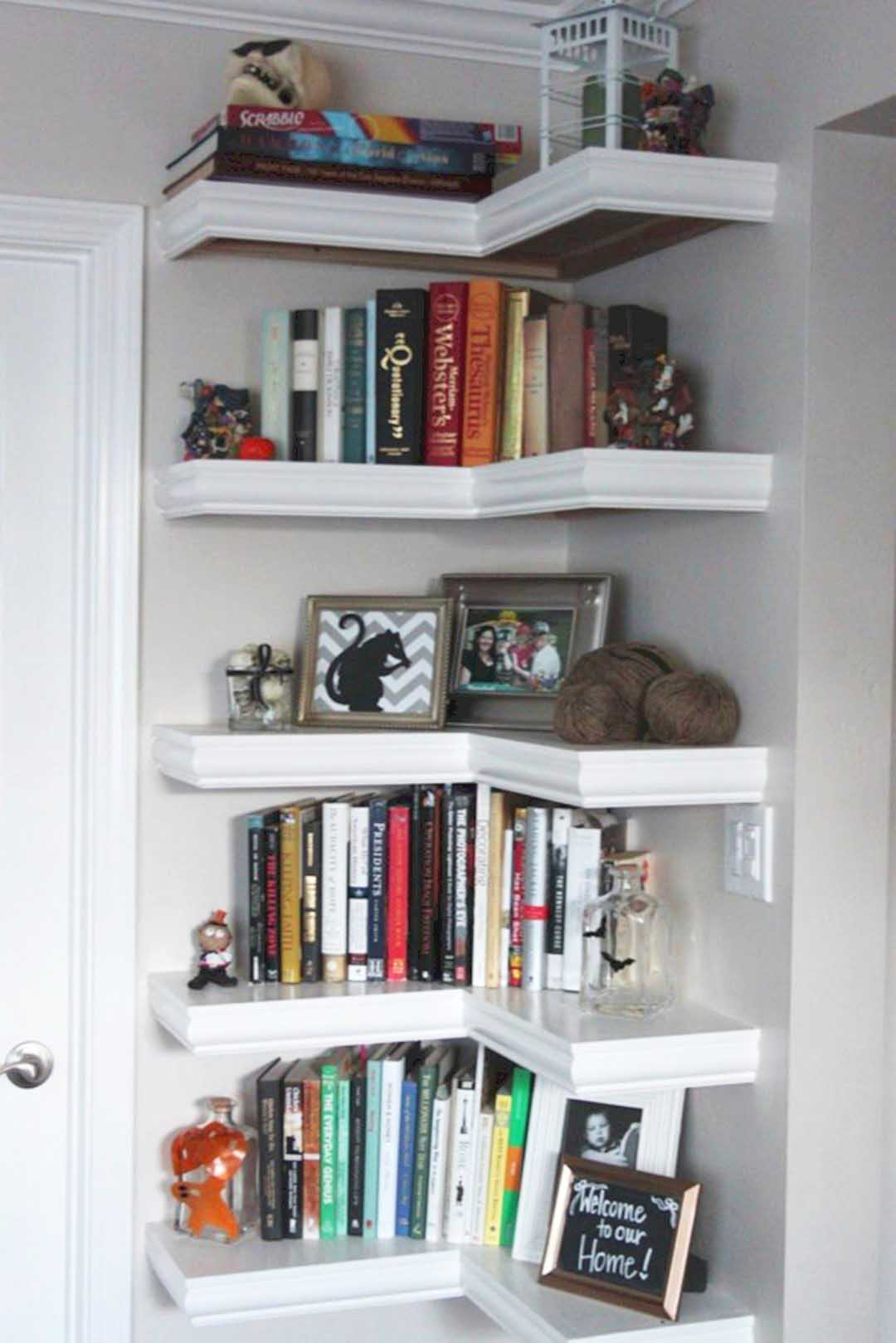 Shelves at The Corner In Between Doors