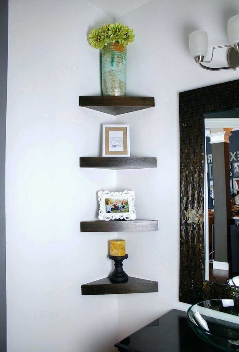Simple Corner Shelf In Powder Room