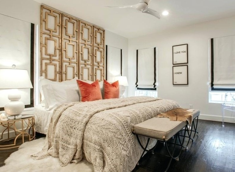 A DIY Headboard from A Room Divider