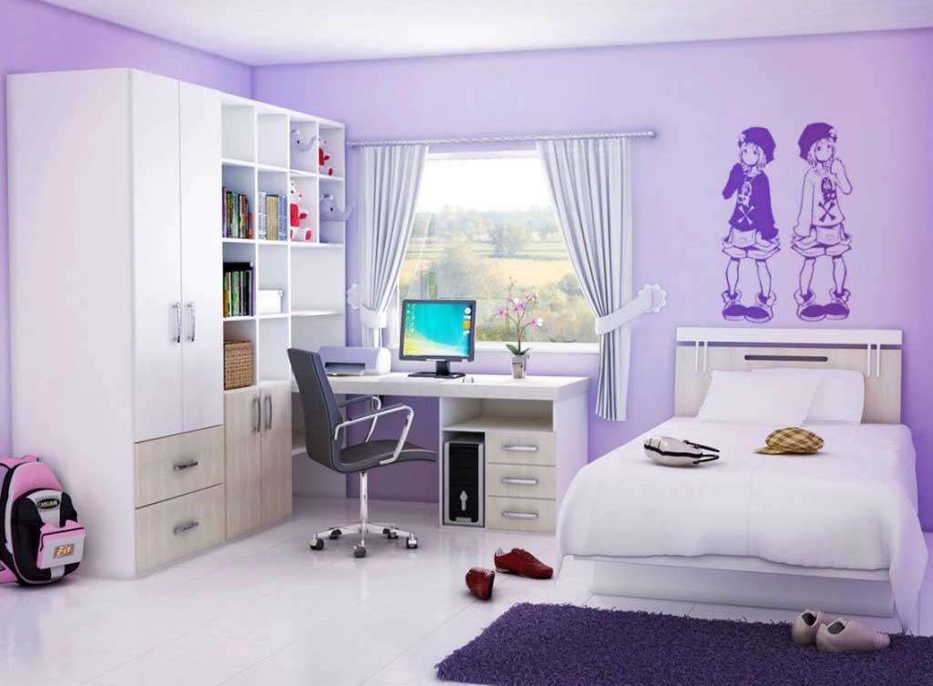 Built-In Shelves in Girls' Small Room