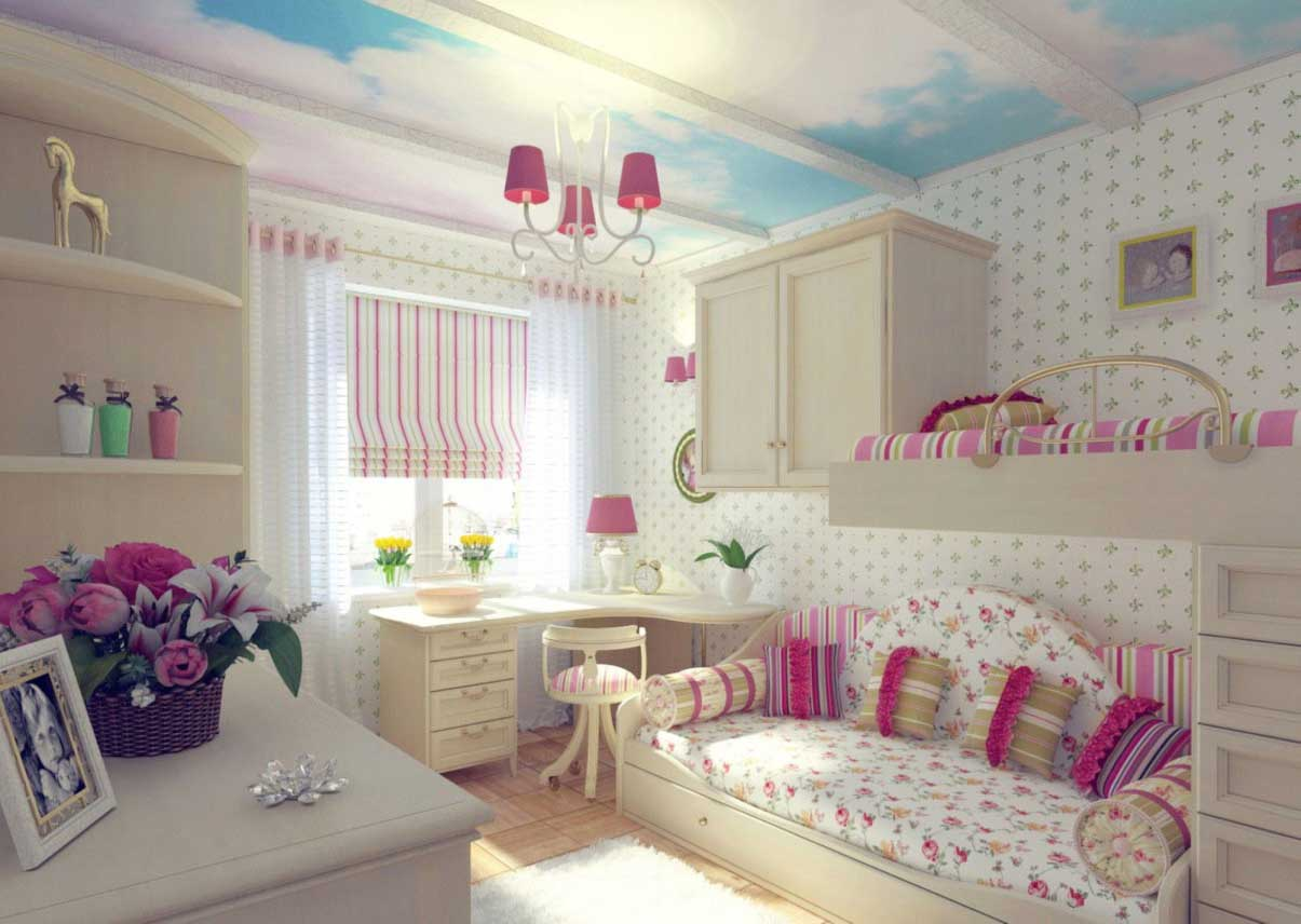 Bunk Bed for Shared Girls' Limited Space