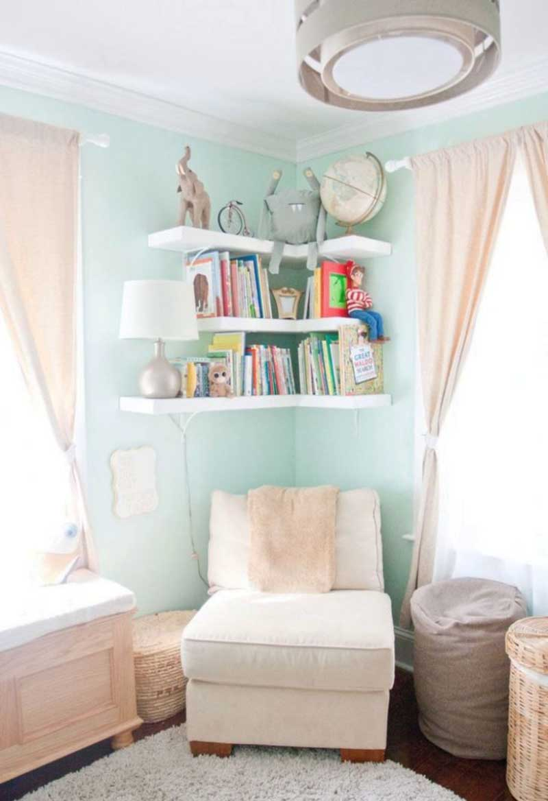 DIY Corner Shelves for Nursery Space