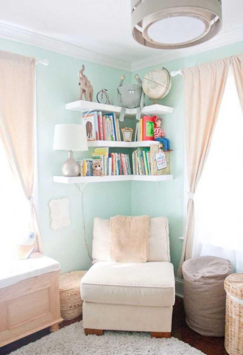 DIY Corner Shelves for Nursery Space