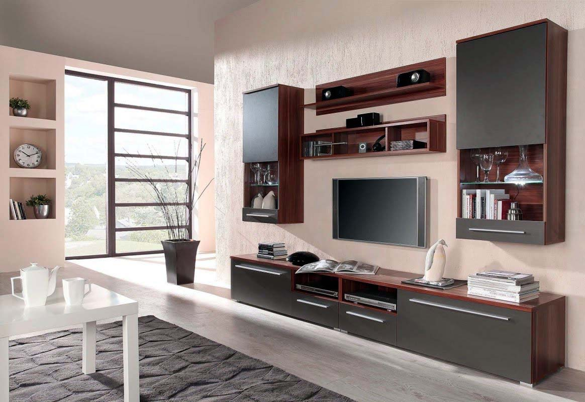 Elegant TV Wall Mount with Mounted Brown Shelves
