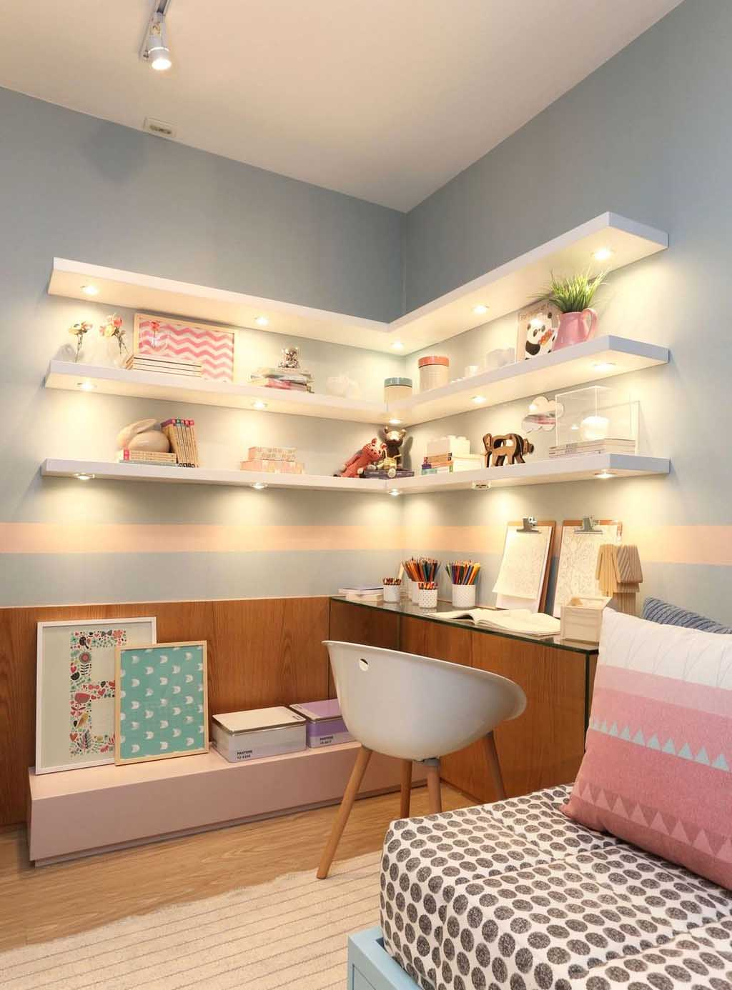 Lighted Space-Saving Corner Shelves for Girl's Room