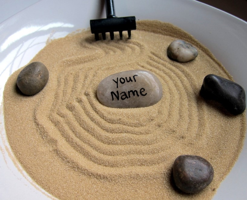 "Mini Zen Garden with ""Your Name"" Stone"