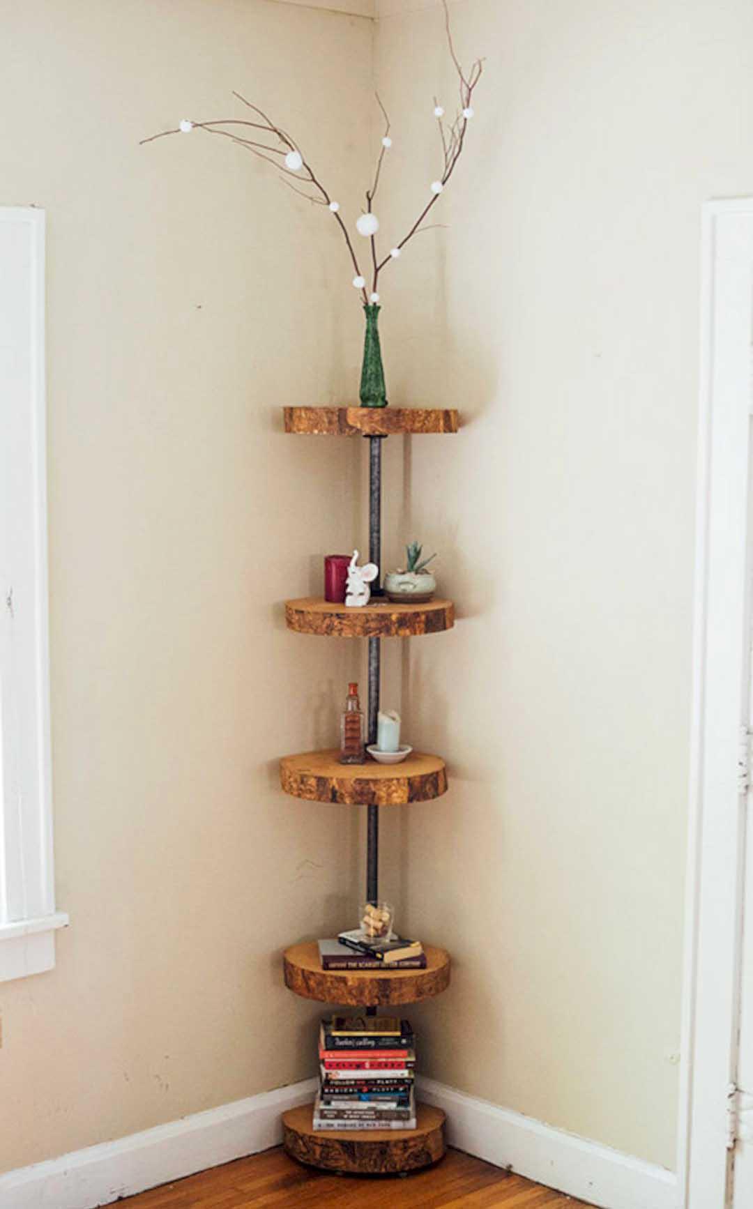Minimalist Free-Standing DIY Corner Shelves