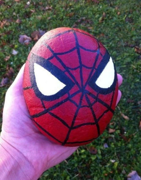 Spiderman Rock Painting Ideas