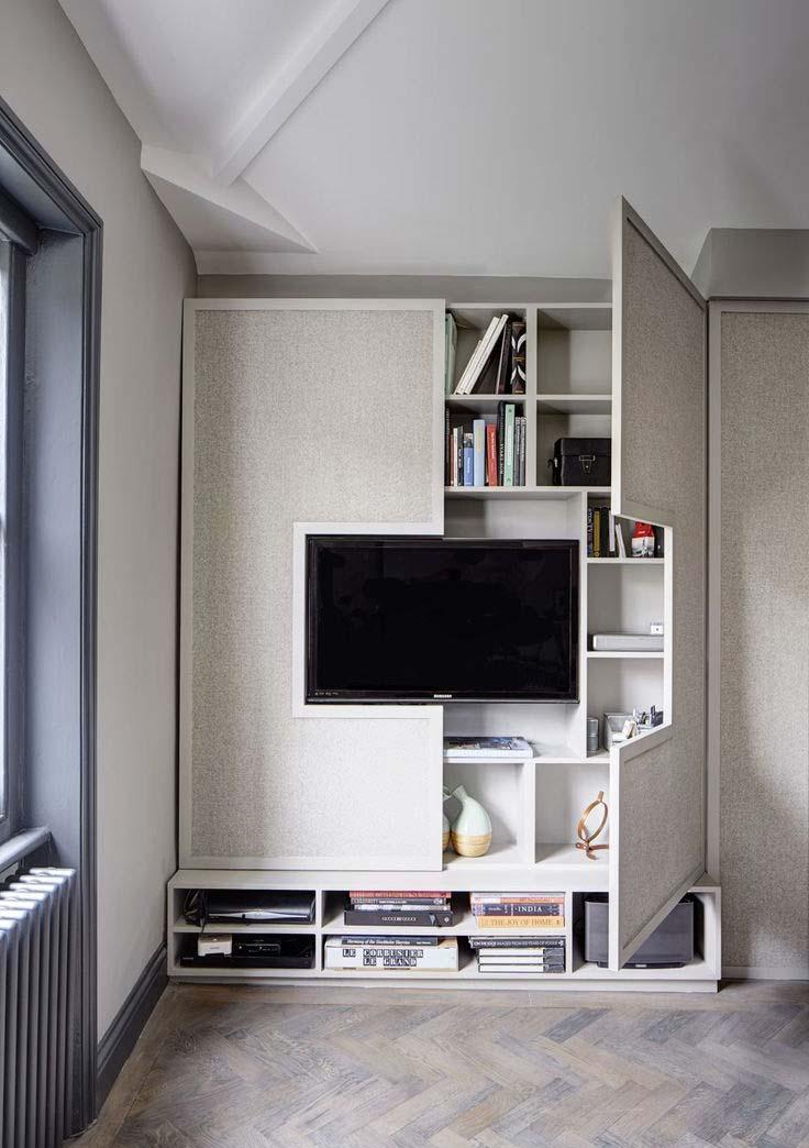 TV Wall Mount with Hidden Shelves