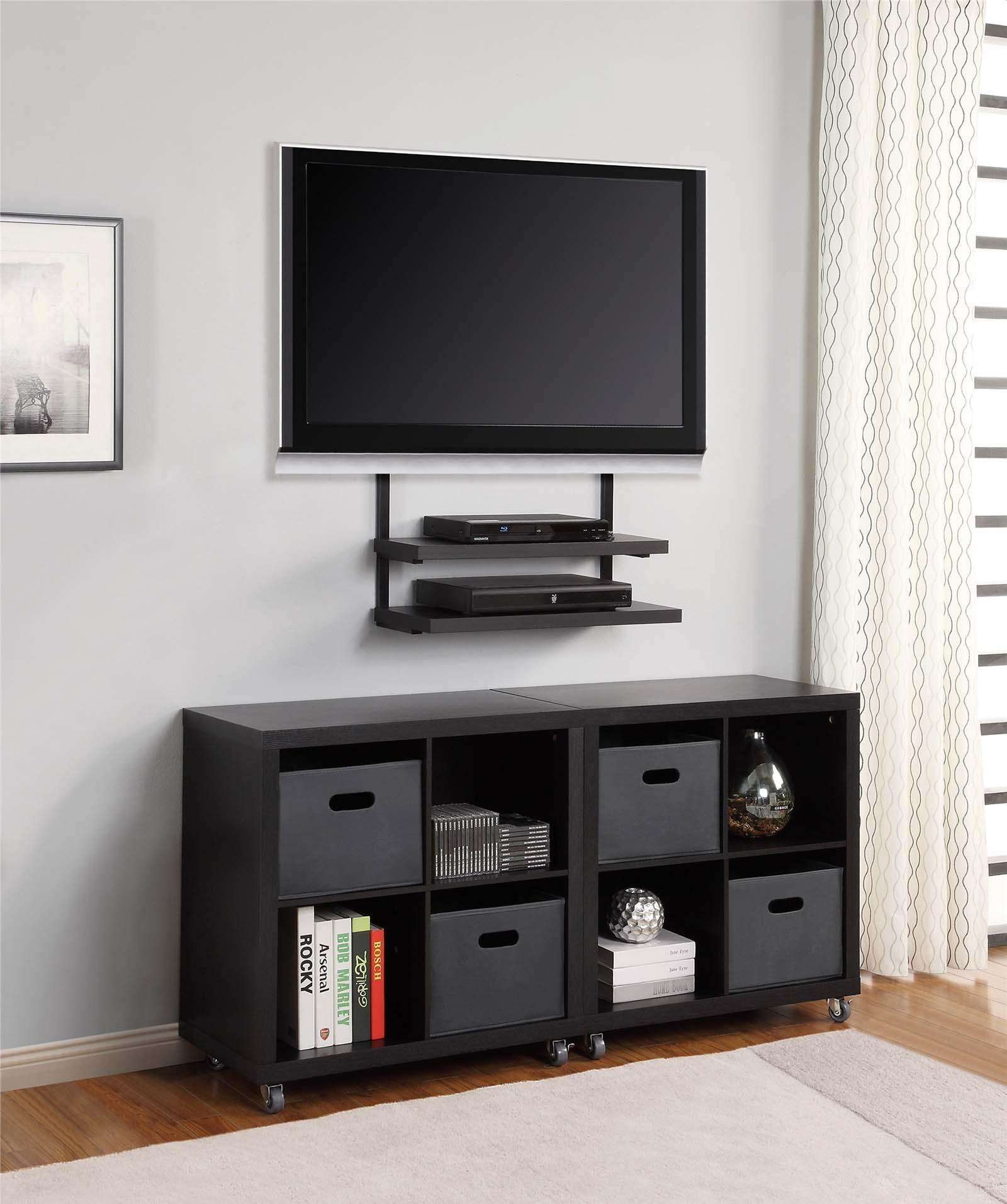 Wall-Mounted TV with Black Racks