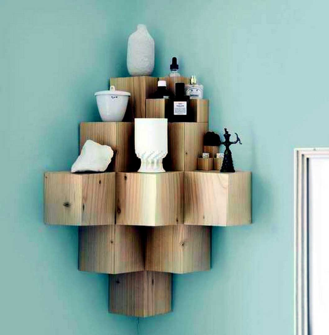Wooden Block Corner Shelf