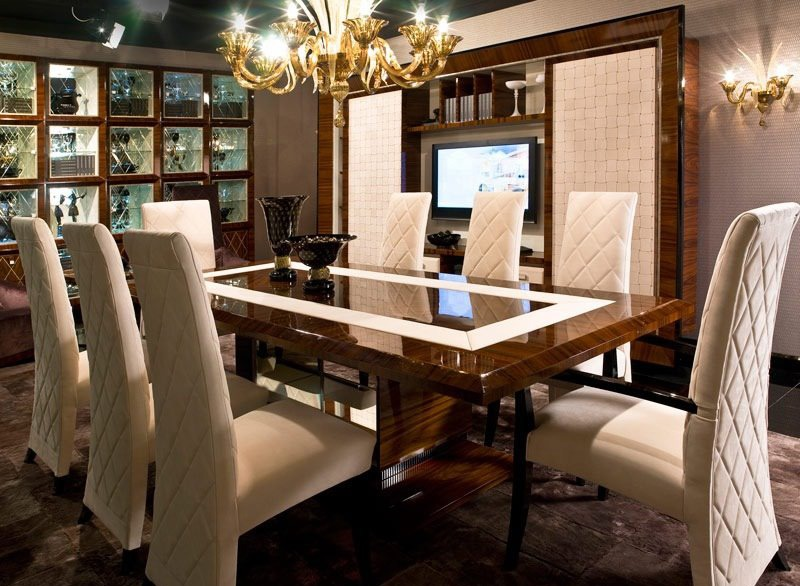 A Dining Room with Wall-Mounted TV