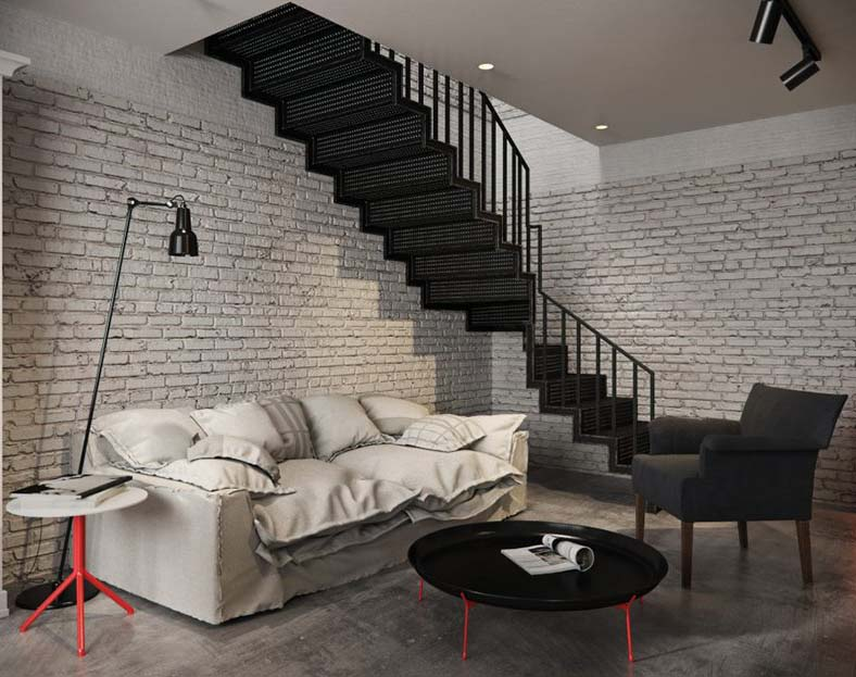 A Living Room with Mainly Brick Wall