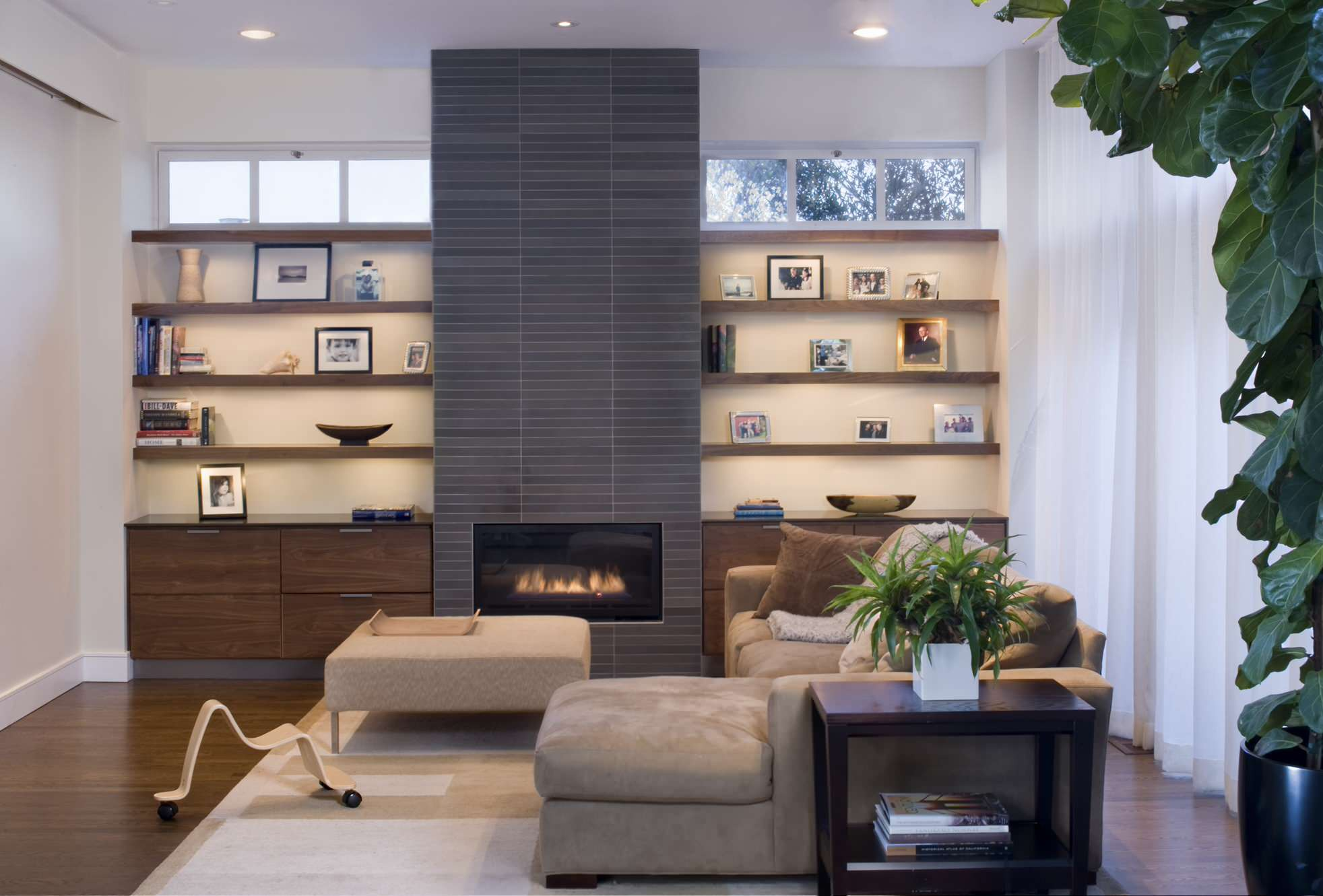 Built-In Shelving Fireplace