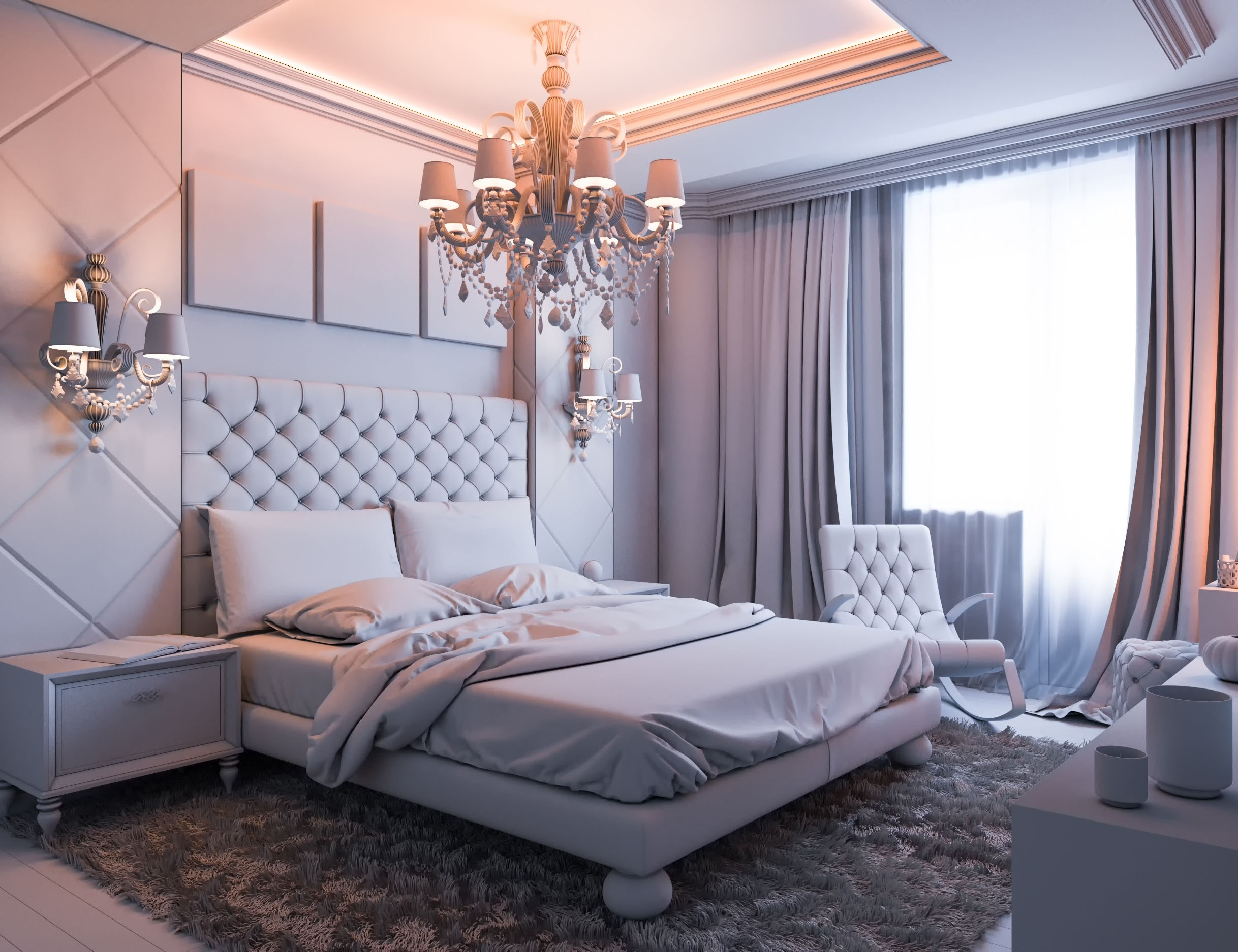 Gray Romantic Bedroom Idea