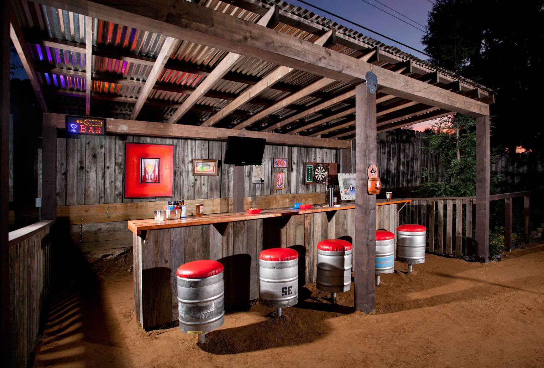 Outdoor Bar Covered with Tavern-Inspired Pergola