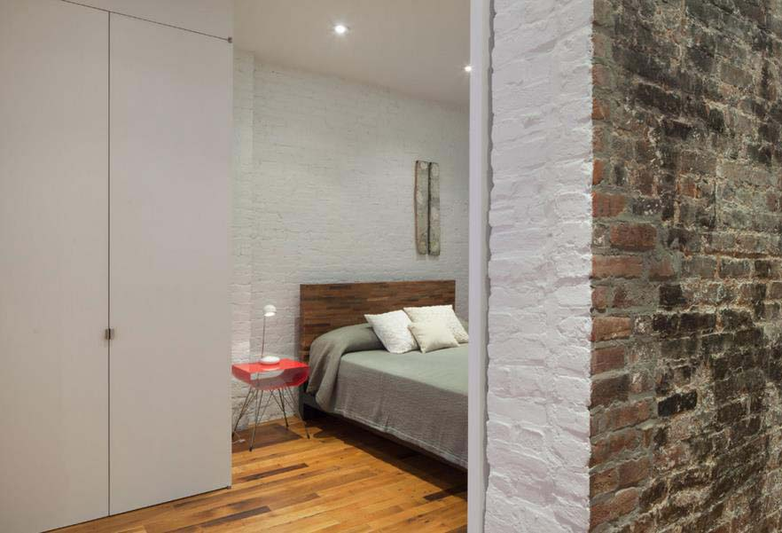 Painted Brick in an Industrial Bedroom