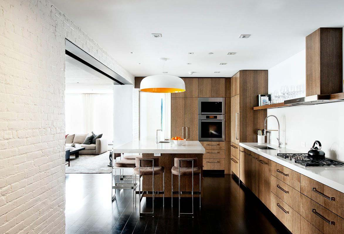 White Painted Brick Wall Featured in Modern Kitchen